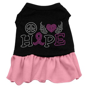 Peace Love Hope Breast Cancer Rhinestone Pet Dress Black with Light Pink Med (12)