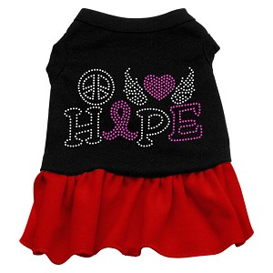 Peace Love Hope Breast Cancer Rhinestone Pet Dress Black with Red Sm (10)