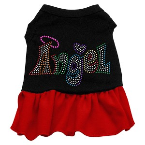Technicolor Angel Rhinestone Pet Dress Black with Red Med (12)
