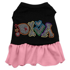 Technicolor Diva Rhinestone Pet Dress Black with Light Pink Med (12)
