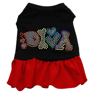 Technicolor Diva Rhinestone Pet Dress Black with Red Med (12)