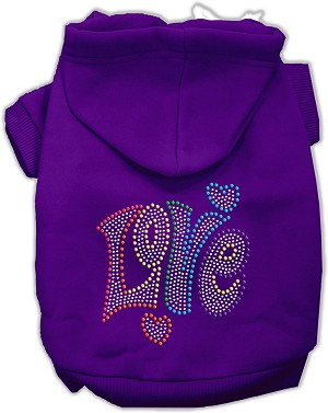 Technicolor Love Rhinestone Pet Hoodie Purple Sm (10)
