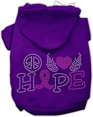 Peace Love Hope Breast Cancer Rhinestone Pet Hoodie Purple Lg (14)
