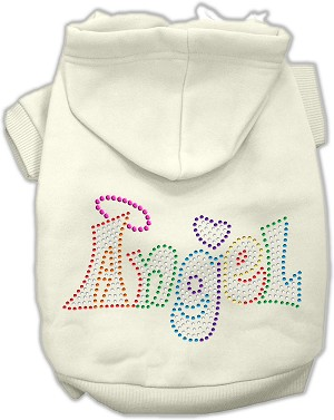 Technicolor Angel Rhinestone Pet Hoodie Cream XL (16)