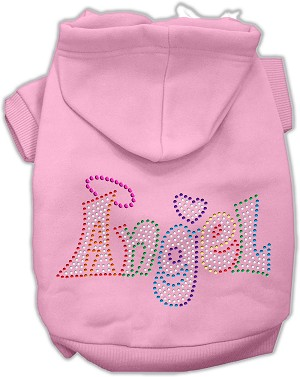 Technicolor Angel Rhinestone Pet Hoodie Light Pink XL (16)