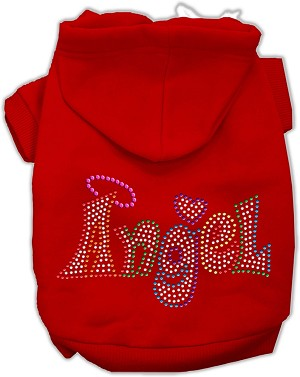 Technicolor Angel Rhinestone Pet Hoodie Red XS (8)