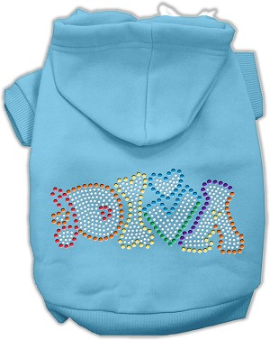 Technicolor Diva Rhinestone Pet Hoodie Baby Blue XS (8)