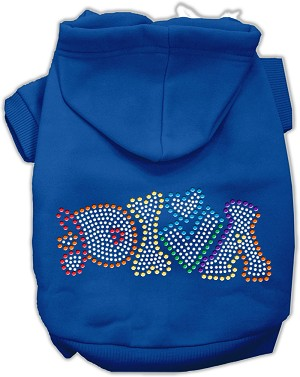 Technicolor Diva Rhinestone Pet Hoodie Blue XXXL (20)