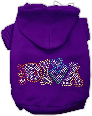 Technicolor Diva Rhinestone Pet Hoodie Purple Sm (10)