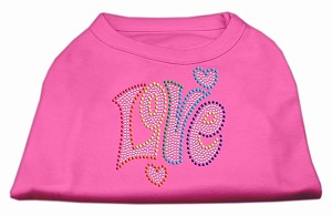 Technicolor Love Rhinestone Pet Shirt Bright Pink Lg (14)