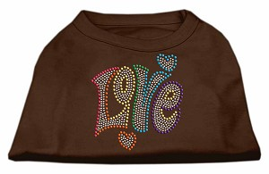 Technicolor Love Rhinestone Pet Shirt Brown Med (12)