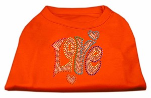 Technicolor Love Rhinestone Pet Shirt Orange XL (16)