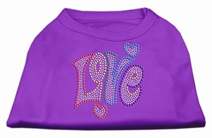 Technicolor Love Rhinestone Pet Shirt Purple Sm (10)
