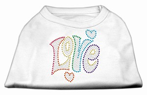Technicolor Love Rhinestone Pet Shirt White XL (16)