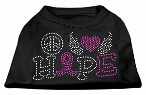 Peace Love Hope Breast Cancer Rhinestone Pet Shirt Black XS (8)