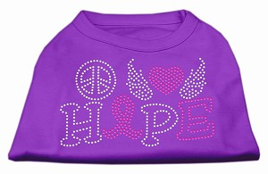 Peace Love Hope Breast Cancer Rhinestone Pet Shirt Purple XXXL (20)