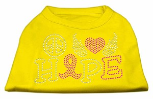 Peace Love Hope Breast Cancer Rhinestone Pet Shirt Yellow XXXL (20)