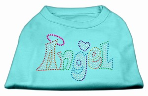 Technicolor Angel Rhinestone Pet Shirt Aqua Sm (10)