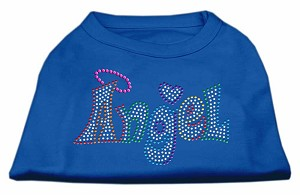 Technicolor Angel Rhinestone Pet Shirt Blue Lg (14)