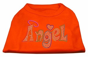 Technicolor Angel Rhinestone Pet Shirt Orange XXL (18)