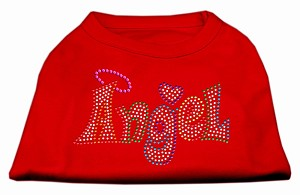 Technicolor Angel Rhinestone Pet Shirt Red Sm (10)