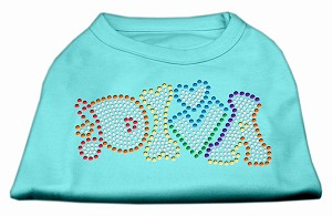 Technicolor Diva Rhinestone Pet Shirt Aqua XL (16)
