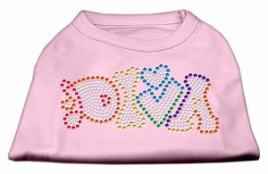 Technicolor Diva Rhinestone Pet Shirt Light Pink Lg (14)