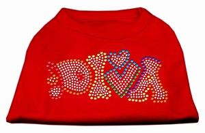 Technicolor Diva Rhinestone Pet Shirt Red XS (8)
