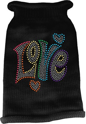 Technicolor Love Rhinestone Knit Pet Sweater Black Sm (10)