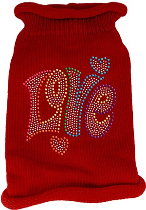 Technicolor Love Rhinestone Knit Pet Sweater Red Med (12)