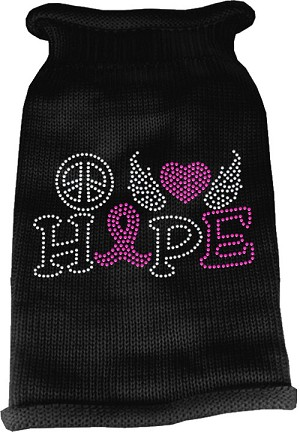 Peace Love Hope Rhinestone Knit Pet Sweater Black Lg (14)