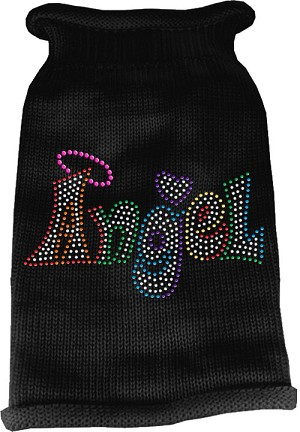 Technicolor Angel Rhinestone Knit Pet Sweater Black XS (8)