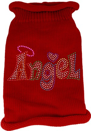 Technicolor Angel Rhinestone Knit Pet Sweater Red Sm (10)