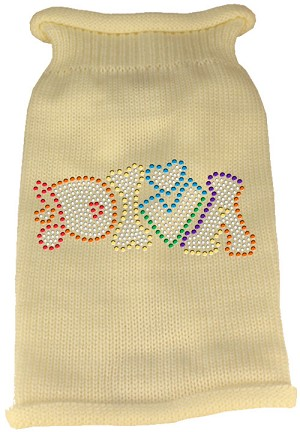 Technicolor Diva Rhinestone Knit Pet Sweater Cream XL (16)