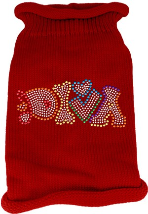 Technicolor Diva Rhinestone Knit Pet Sweater Red Lg (14)