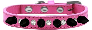 Crystal and Black Spikes Dog Collar Bright Pink Size 14