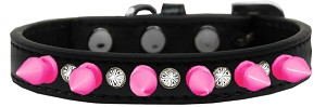 Crystal and Bright Pink Spikes Dog Collar Black Size 16