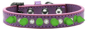 Crystal and Neon Green Spikes Dog Collar Lavender Size 16