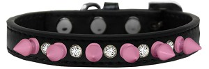 Crystal and Light Pink Spikes Dog Collar Black Size 16