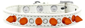 Crystal and Neon Orange Spikes Dog Collar White Size 16