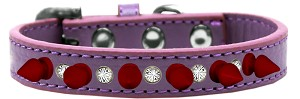Crystal and Red Spikes Dog Collar Lavender Size 14
