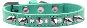 Crystal and Silver Spikes Dog Collar Aqua Size 12