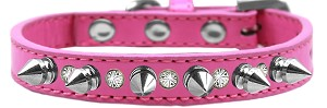 Crystal and Silver Spikes Dog Collar Bright Pink Size 16