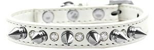 Crystal and Silver Spikes Dog Collar White Size 16