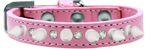 Crystal and White Spikes Dog Collar Light Pink Size 16