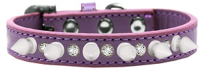 Crystal and White Spikes Dog Collar Lavender Size 10