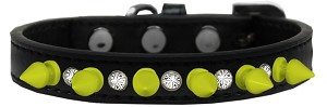 Crystal and Neon Yellow Spikes Dog Collar Black Size 12