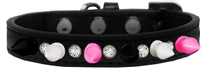 Crystal with Black, White and Bright Pink Spikes Dog Collar Black Size 14