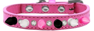 Crystal with Black, White and Bright Pink Spikes Dog Collar Bright Pink Size 10