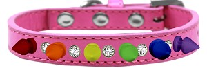 Crystal with Rainbow Spikes Dog Collar Bright Pink Size 16